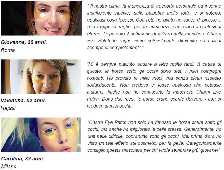 commenti e testimonianze su charm eye patch